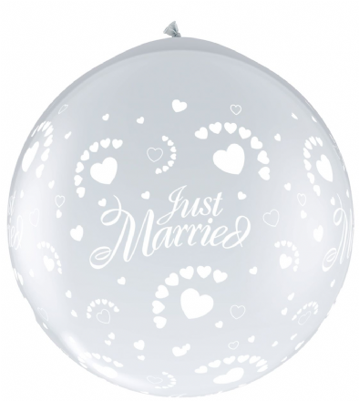 3FT Diamond Clear  Just Married Hearts Latex Balloons Neck Up x 2